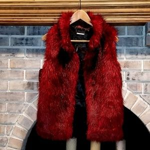 Red fur vest with leather quilted back